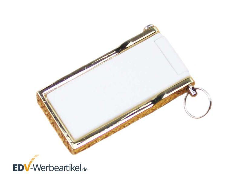 Mini USB Klapp Stick weiss gold