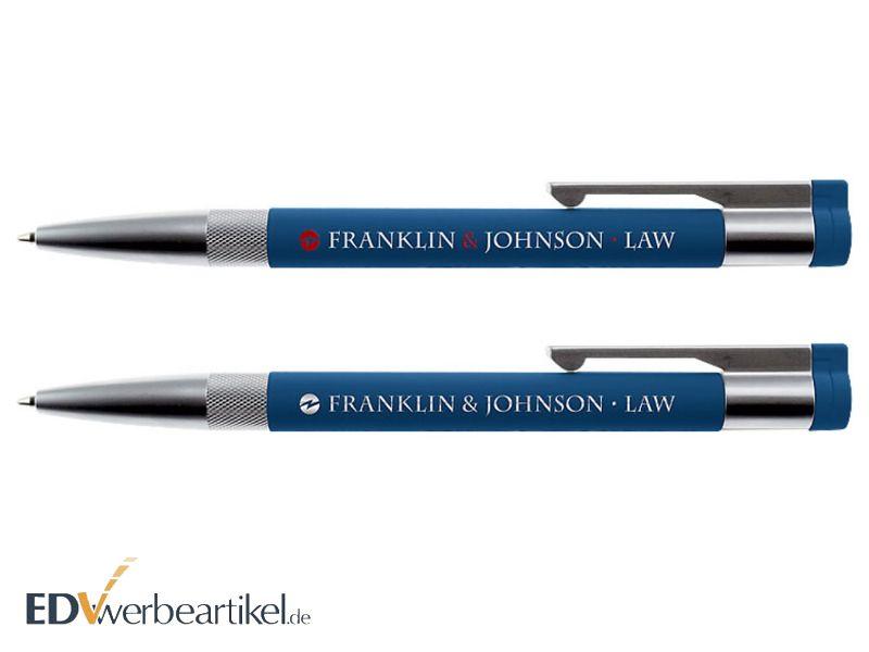USB Stick Kugelschreiber blau mit Logo