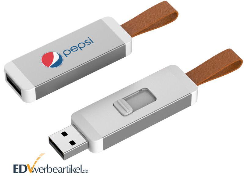 USB Stick mit Leder Schlaufe als Werbegeschenk
