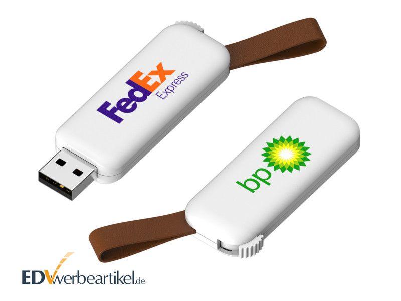 USB Stick mit Lederschlaufe RODEO - weiß