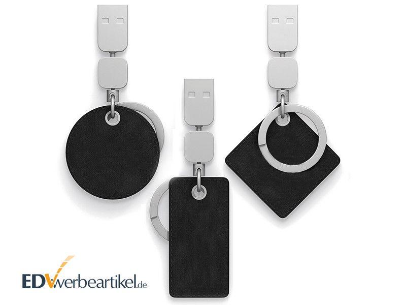 USB Stick mit Leder Schlüsselanhänger als Werbegeschenk mit Logo