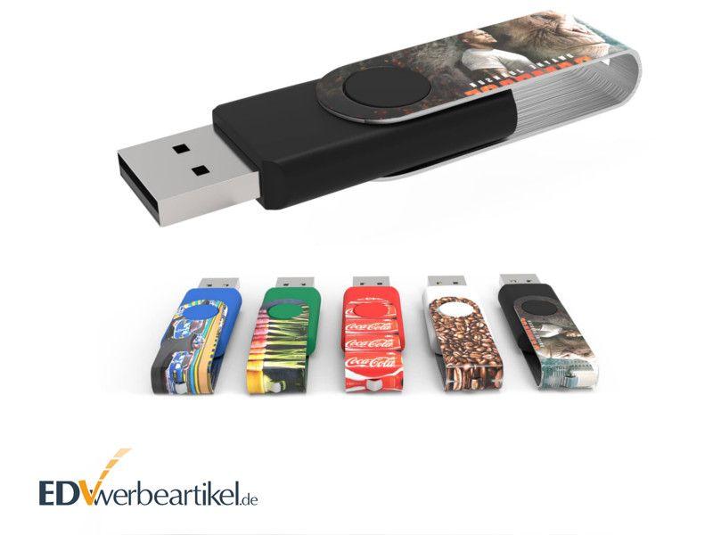 USB Stick mit vollflächigem Farbdruck auf Drehbügel