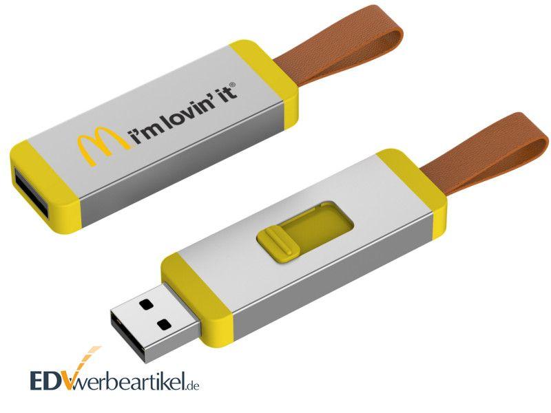 USB Sticks bedrucken in gelb - Werbegeschenk CORD
