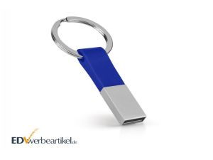 USB Stick mit Firmenlogo als Schlüsselanhänger bedrucken - blau