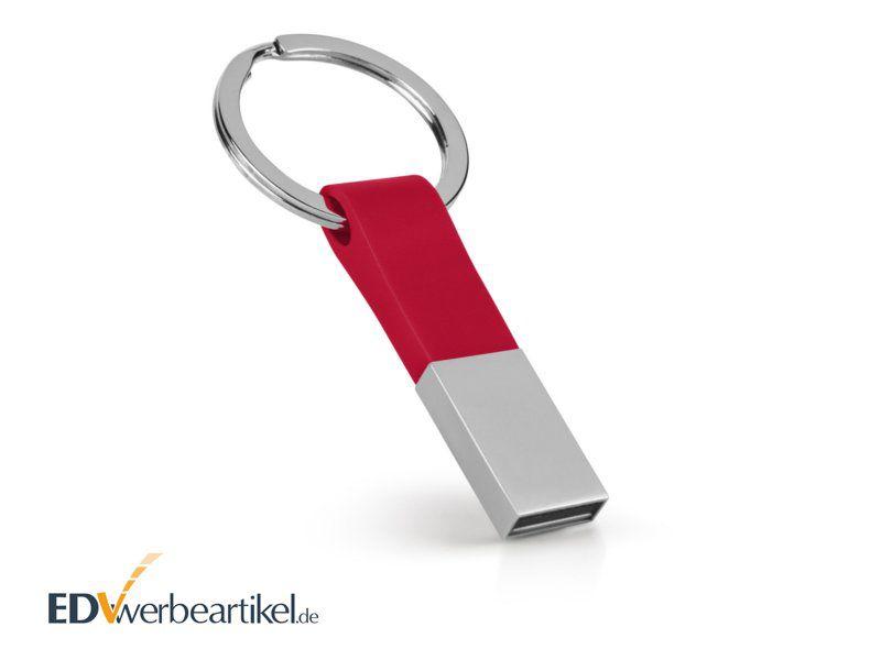 USB Stick Schlüsselanhänger als Werbeartikel mit Logo bedrucken - Elite - rot