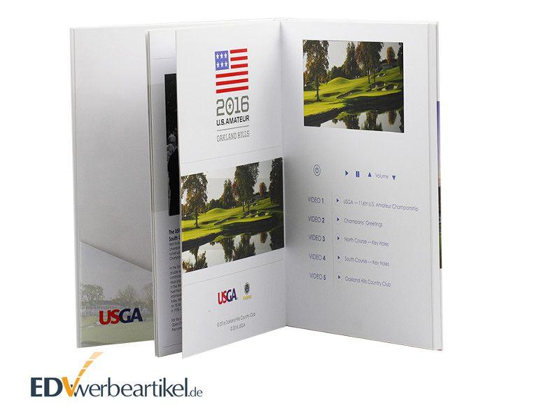 Videocard mit LCD Display im Buchformat Werbe Broschüre