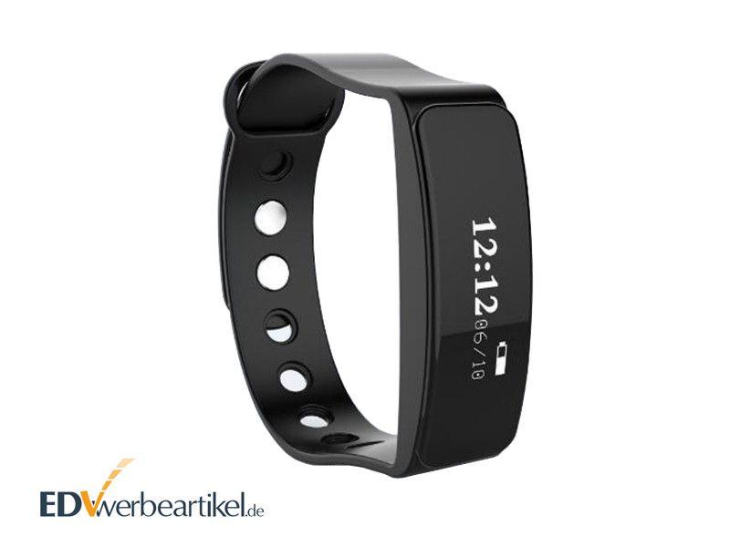 Werbeartikel Fitness Armband Sport bedrucken mit Logo - CHIC - schwarz