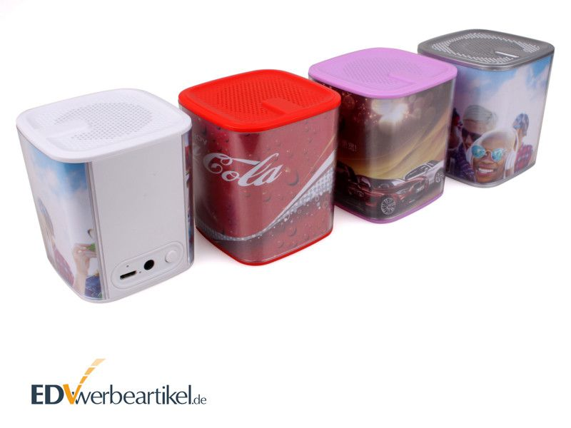 Werbeartikel Lautsprecher Bluetooth bedrucken individuell gestalten mit Logo
