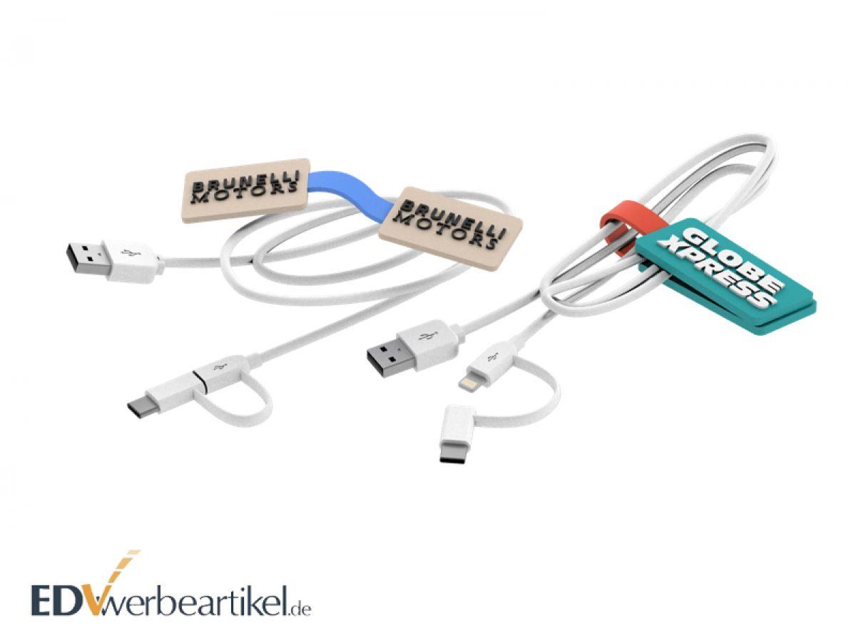 Jetzt 3-in-1 USB Kabel mit Kabelclip individuell in Ihrem Logo als Sonderanfertigung gestalten!