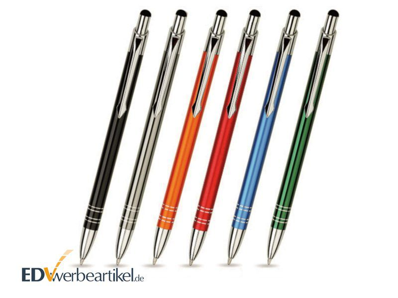 Werbeartikel Touchpen Kugelschreiber aus Aluminium mit Logo bedrucken