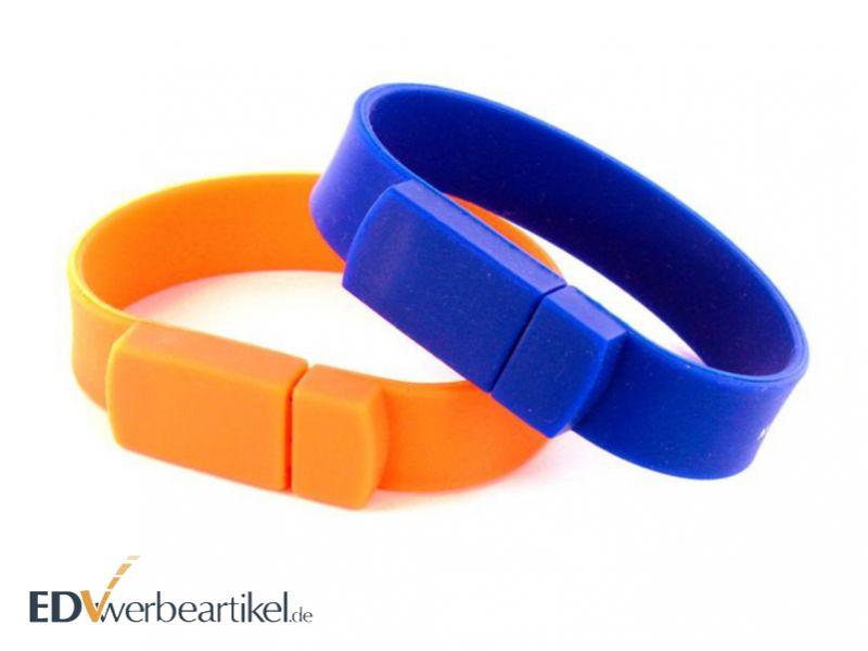 USB Armband Werbemittel in blau und orange - Werbeartikel