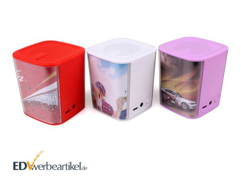 Werbegeschenk Lautsprecher Bluetooth bedrucken individuell gestalten mit Logo