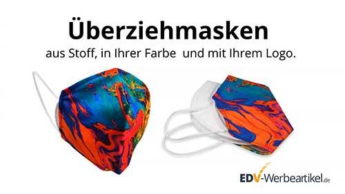 Überziehmasken aus Stoff, in Ihrer Farbe und mit Ihrem Logo