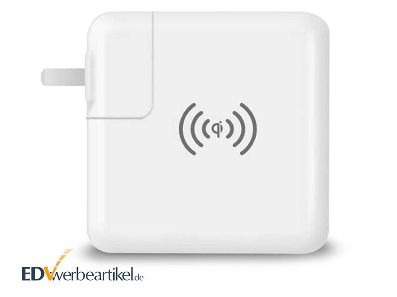 USB Typ-C Ladegerät mit Powerbank und Wireless Charger GENIUS als Werbegeschenk