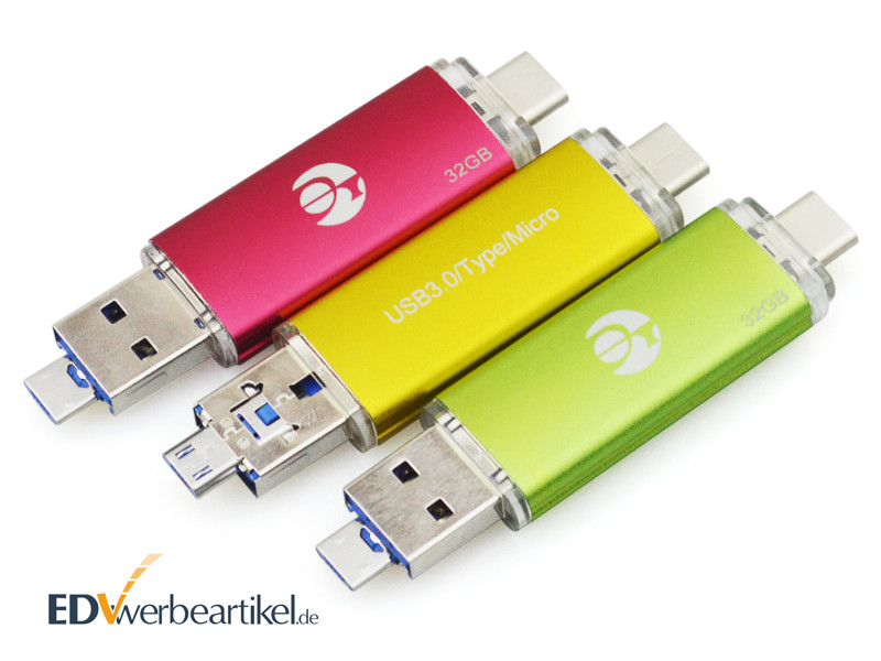 3in1 micro USB Stick mit Typ C als Werbeartikel