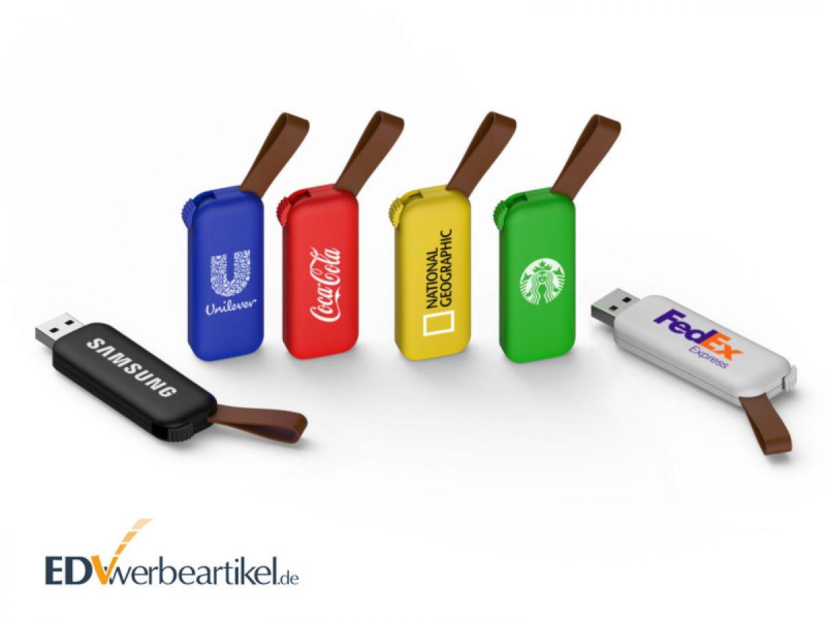 Bunte USB Sticks aus Kunststoff mit Kunstlederschlaufe