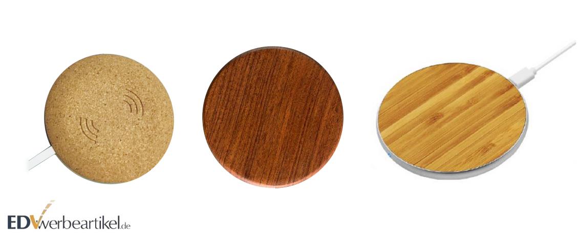 Grüne Werbeartikel: Qi Ladegeräte in Holz oder Kork bestellen