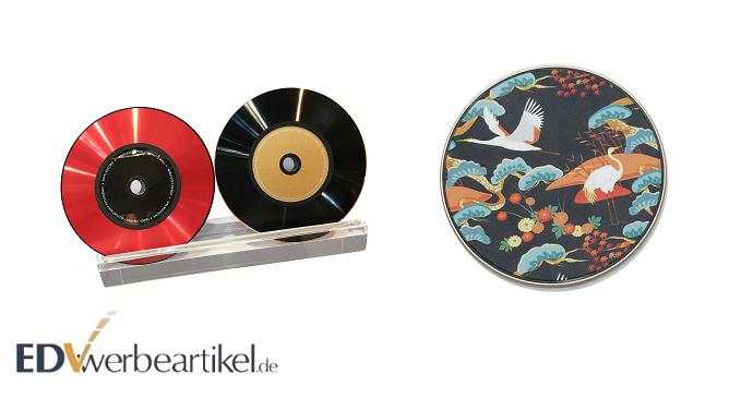 Kabelloses Ladegerät in Schallplatten Design - cooler Retro Werbeartikel