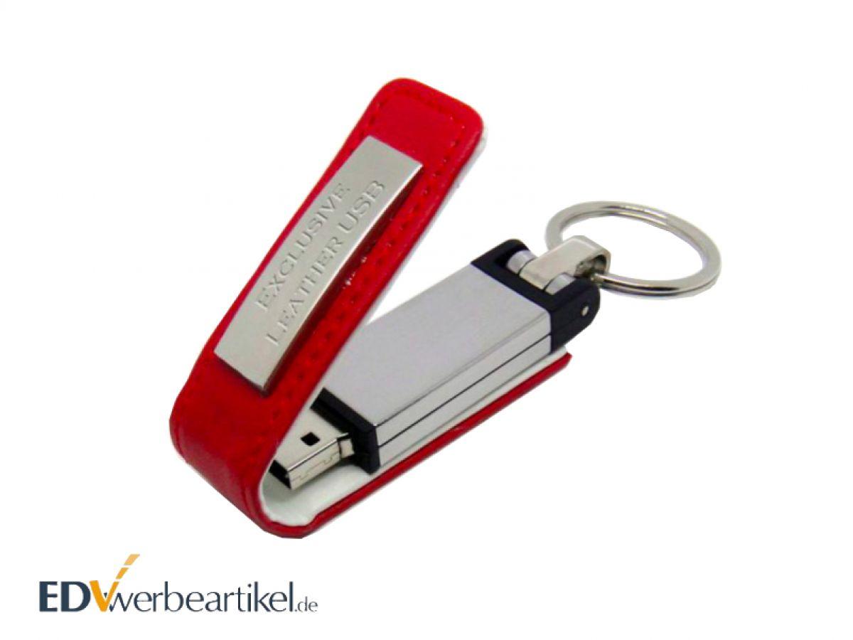Leder USB Stick Schlüsselanhänger mit Metallplatte und Logogravur