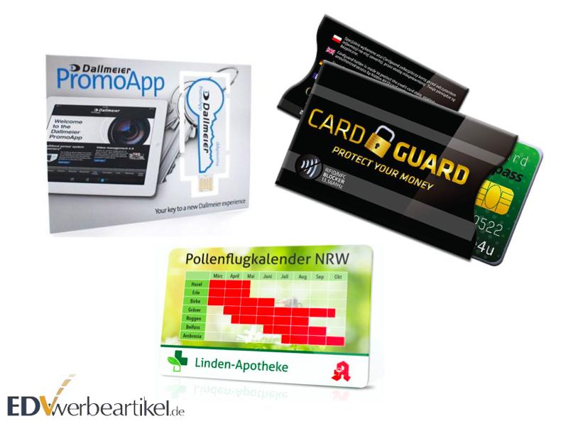 USB Karten und RFID Schutzkarten als Messe Streuartikel bedrucken lassen